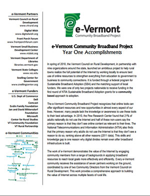 e-Vermont Year One Summary