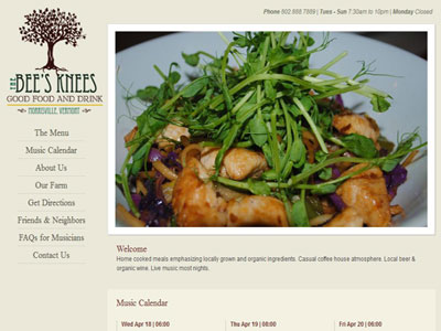Bees Knees new website design