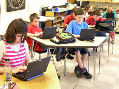 Students with laptops in Morristown